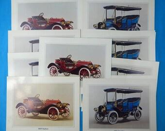 Set of 11 Vintage Ford Car 1905 Rambler 1909 Hudson Art Print Home Decor Gift for Him 11