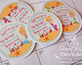 Mermaid Favor Tags / Red headed Mermaids / Brown Haired Mermaids / Blonde Haired Mermaids / Mermaid Party Tags / Mermaid thank you tags