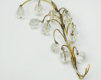Victorian Era Lily of The Valley Crystal Teardrops Gold Metal Brooch Hat Pin Return of Happiness Victorian Brooch