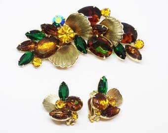 Vintage Delizza Elster Juliana Demi Parure Book Piece Brooch Earring Set Fall Colors Verified