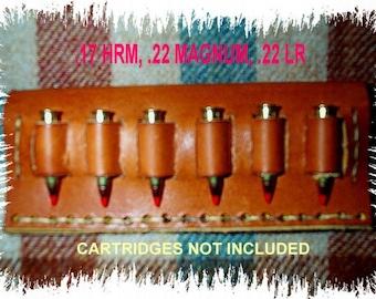Leather Cartridge Belt slide holder, .22 s, l, lr, .17 mac 2, .17 hmr, .22 magnum