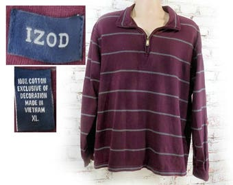 men's knit shirt, collared knit shirt, men's long sleeve shirt, men's IZOD shirt, men's stripped shirt - size X large,   # 216