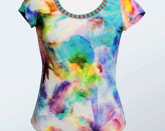 beautiful multicolor white colored short sleeve t-shirt