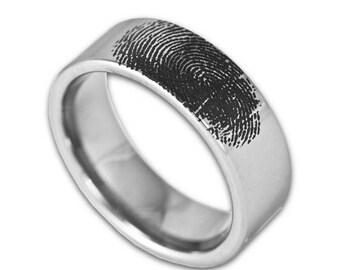FLASH SALE Custom Engraved Fingerprint Wedding Band Mens 8MM Tungsten Pipe Cut Ring