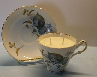 2 in 1 Gift Vermont Honey Apple Royal Imperial Vintage Teacup and Saucer Soy Candle