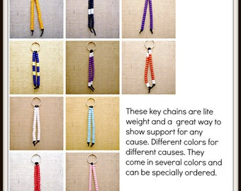 Key chains beaded support colors lite weight