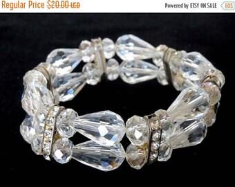 SUMMER SALE Stunning Double Row Crystal Bead & Rhinestone Expansion Bracelet