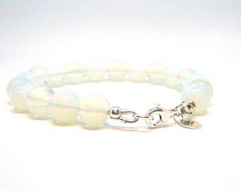 Moonstone bracelet, Real silver bracelet, Gemstone bead bracelet, White bracelet, Moonstone jewellery,Handmade jewellery, Wedding jewellery