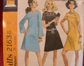 """ON SALE 35% OFF 1969 Misses' Mid Century Mod Yoked Dress - Fitted - Size 18 1/2 Bust 41"""" McCall's Sewing Pattern 2163"""