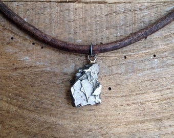 Meteorite Men Necklace, Eco Antique Brown Leather, Sterling Silver, Sterling Clasp, Timeless