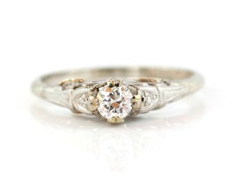 Diamond Solitaire Ring, Vintage Engagement Ring, White Gold Ring, Diamond Ring, Diamond Engagement Ring, Solitaire Ring, Vintage Ring