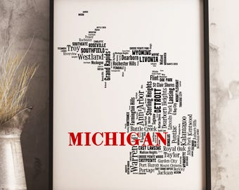 Michigan Map Art, Michigan Art Print, Michigan City Map, Michigan Typography Art, Michigan Wall Decor, Michigan Moving Gift