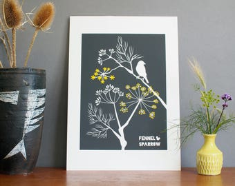 SALE A3 Size Fennel & Sparrow in Charcoal with yellow detail print Unframed Grey and Yellow Wall Art Alison Bick Illustration Cornwall