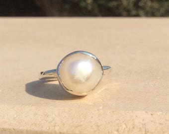 Pearl Ring, US 7.25 Large Pearl Silver Ring, June Birthstone Silver Ring, Freshwater Pearl Boho Silver Ring