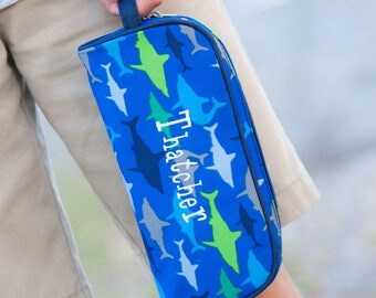 Monogrammed Pencil Pouch -Personalized Pencil Pouch-Shark Pencil Pouch-Fish Pencil Pouch-Boy's Pencil Pouch-Preppy Pencil Pouch-Preppy Boy's