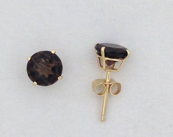 Natural Smoky Topaz Stud Earrings Solid 10kt Yellow Gold
