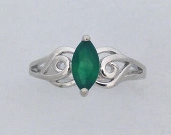 Marquise Cut Green Onyx Ring 925 Sterling Silver