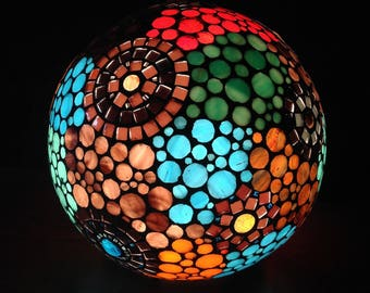 To order. Predominantly Brown and chocolate stained glass mosaic lamp.
