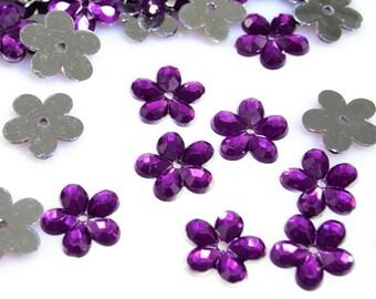 50 flowers purple transparent Crystal