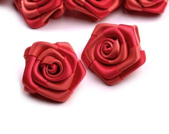 5 small 30 mm Red satin roses