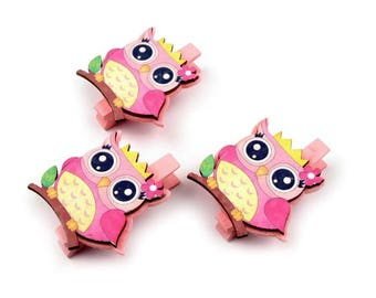 3 mini clothespins OWL OWL