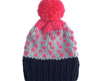 Hat, woolly hat, knitted hat, beanie, bobble hat, winter hat, pom pom, chunky wool, grey with pink chevrons and pom pom