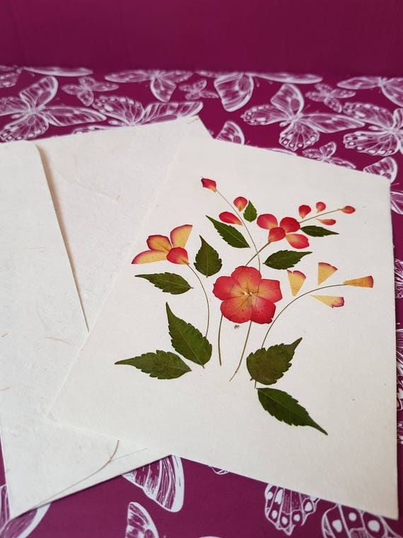 Blank pressed flower floral nature card