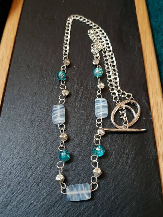 Long Ice blue glass bead necklace and earring set