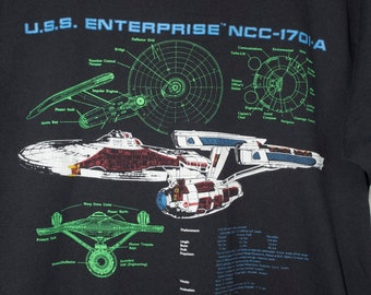 vintage star trek uss enterprise t shirt - 1991 - screen stars best - ship diagram