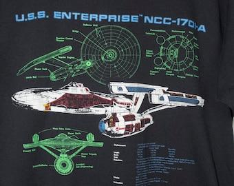 vintage star trek uss enterprise t shirt - 1991 - screen stars best - ship diagram