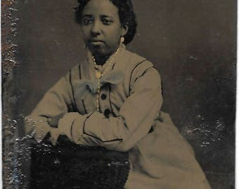 Black Americana Tintype photograph Free African American Woman Hand Tinted Beauty