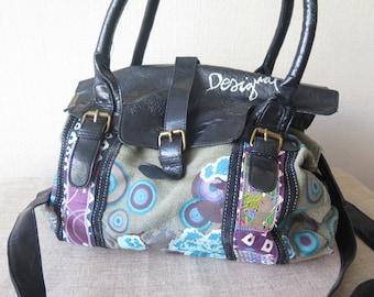 Vintage Fabric Handbag Shoulder Bag with Long Strap Desigual Boho Hippie Bag @228