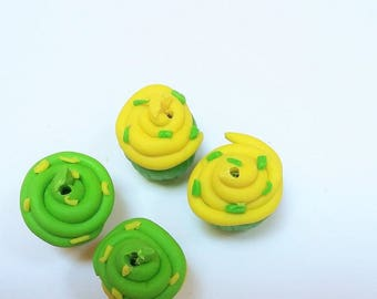 Pearl green, yellow cake with polymer clay cup