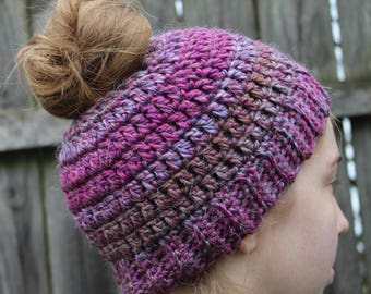 RTS Messy Bun Hat,Purple Striped Ponytail Beanie, Ready to Ship, Stripe Handmade Crochet Messy Bun Hat, Knit Pony tail Hat
