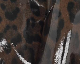 "Fashion Dark Chocolate Leopard Leather Cow Hide 12"" x 12"" Pre-cut 2-2 1/2 oz DE-62937 (Sec. 6,Shelf 4,A)"
