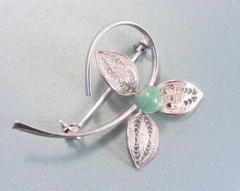 Vintage Filigree Faux Jade Flower Brooch