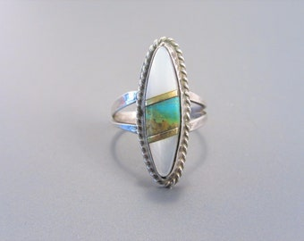 Vintage Zuni Inlay Sterling Mother of Pearl Turquoise Ring Size 6
