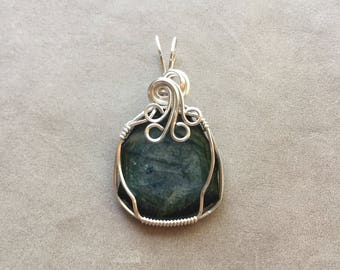 Green Tourmaline Slice Sterling Silver Wire Wrapped Pendant