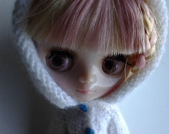 Hoodie - handmade Middie Blythe doll clothes - hooded cardigan *FREE UK SHIPPING*
