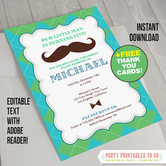 Little Man Invitation With Free Thank You Card Mustache Birthday