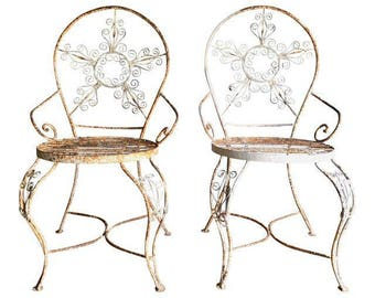 Pair Of White Metal Outdoor Chairs / Wire Chairs / Garden Chairs / Mid  Century /