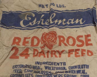 Cotton Red Rose Dairy Feed Canvas Sack, Vintage Feed Bag, Vintage Textile