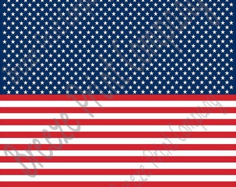 Flag stars and stripes craft vinyl sheet - HTV or Adhesive Vinyl -  HORIZONTAL pattern HTV2807
