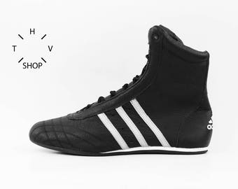 NOS Adidas Prajna High vintage boots / Deadstock Unisex Trainers / Black white Boxing Wrestling Combats athletic kicks / Made in China 2004