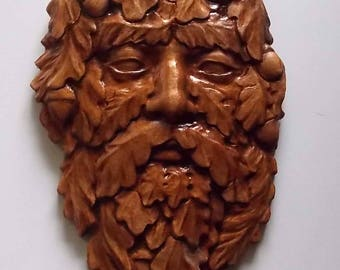 Green Man Wood Carving Wall Hanging, Carved Wood Wall Art, Wooden Decor,  Size