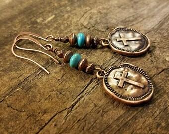 Cross Earrings, Copper earrings, Boho Earrings, Dangle Earrings