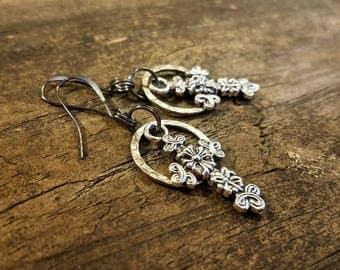 Cross Earrings, Antique Silver Earrings, Boho Earrings, Metal Earrings