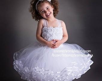 ON SALE White Flower Girl Tutu Dress, White Couture Tutu Dress, White Ribbon Trim Tutu Dress, White Tutu Dress, Flower Tutu Dress, White Tut