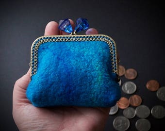 Blue small purse - handmade felt purse - card ID wallet - large change purse - kiss lock purse frame - jewel clasp- matching cotton liner