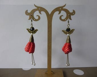 """Earrings """"My little Doll"""" vintage white polka dots on red background and pearls"""
